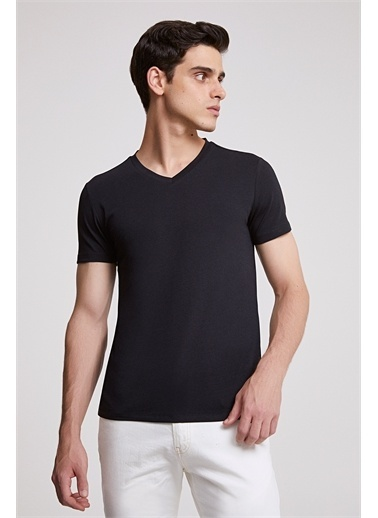 D'S Damat Ds Damat Slim Fit Vizon T-shirt Siyah